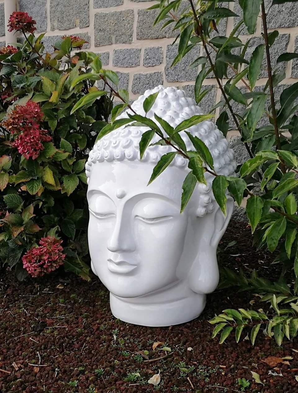 Objet Déco : Tête De Bouddha Blanche En Polyrésine Pour ... à Objets Decoration Jardin Exterieur