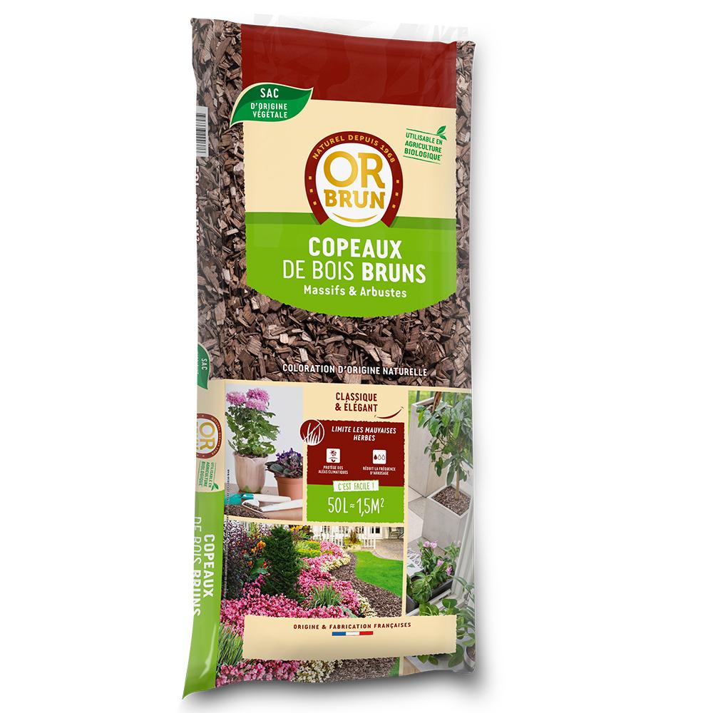Or Brun - Paillage - Copeaux De Bois Colorés Bruns Or Brun 50L dedans Prix Copeaux De Bois Jardin
