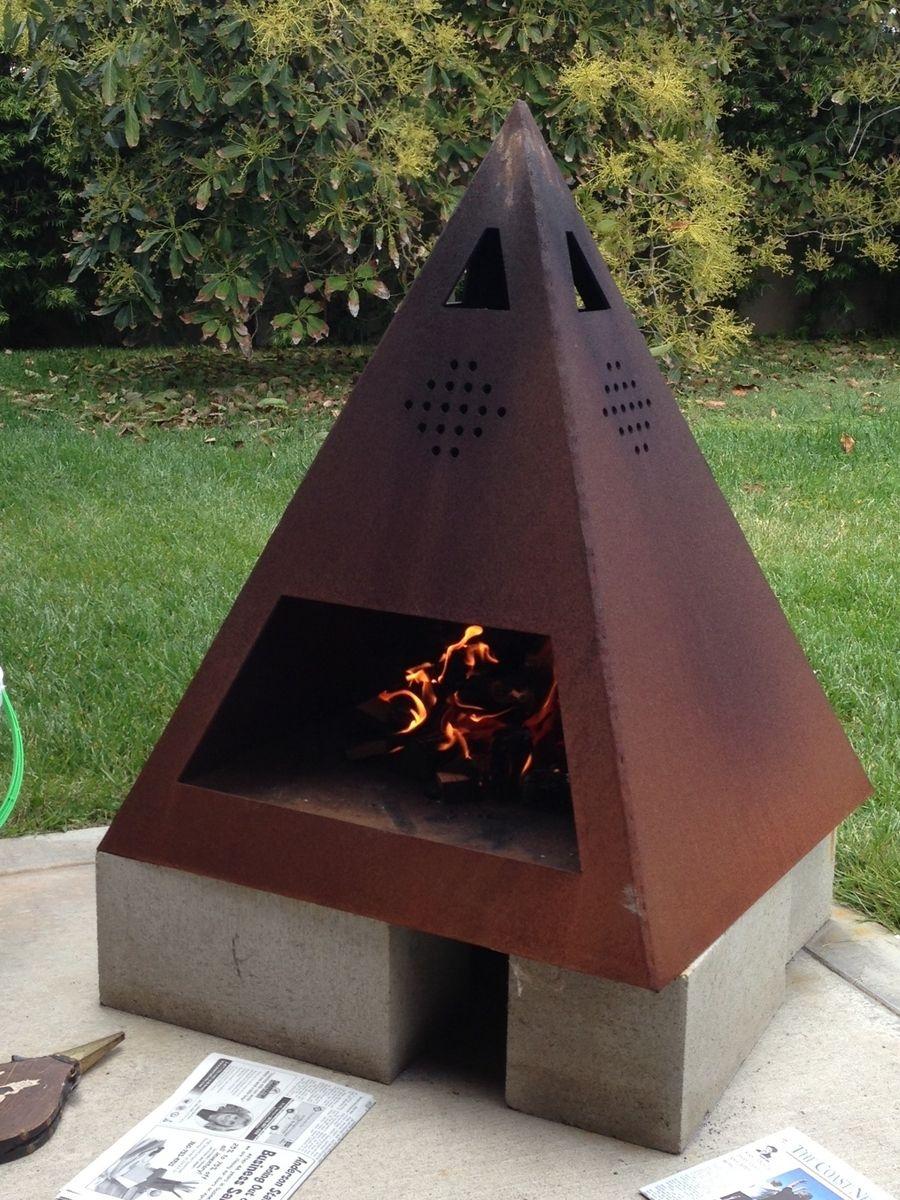 Outdoor Steel Chiminea-Fireplace | Chimeneas Exteriores ... concernant Incinerateur Jardin