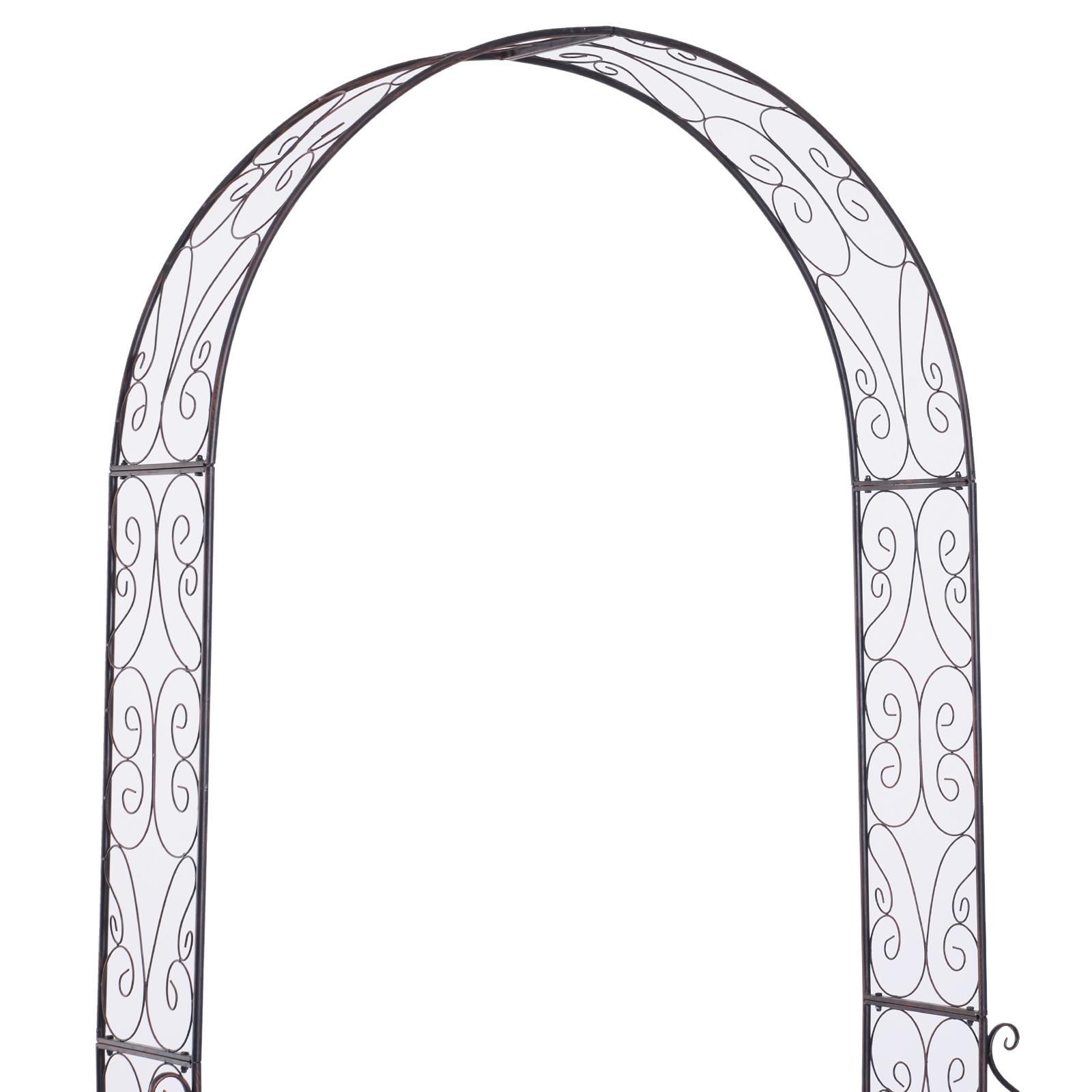 Outsunny Arche De Jardin Arche À Rosiers Style Fer Forgé Dim. 120L X 30L X  226H Cm Métal Époxy Noir Vieilli Cuivré pour Arche De Jardin En Fer Forgé
