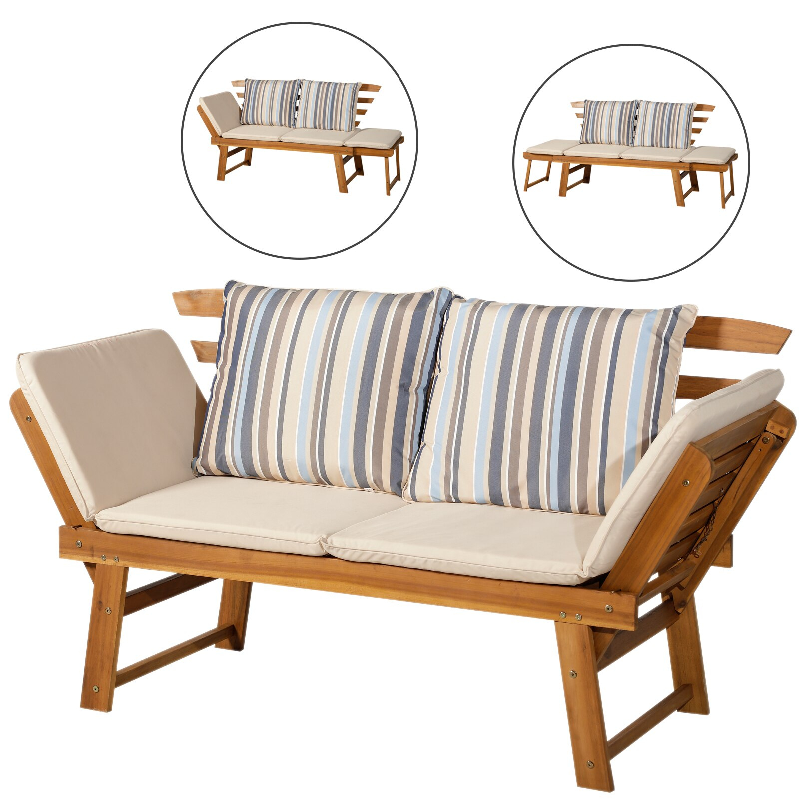Outsunny Deck Chair Rattan Garden With Cushion Bank For ... serapportantà Divan De Jardin
