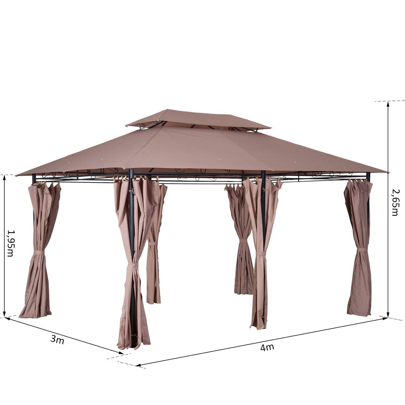 Outsunny Tonnelle Barnum Pavillon De Jardin Style Colonial Double Toit  Toiles Latérales Amovibles 3L X 4L X 2,65H M Chocolat avec Tonnel De Jardin