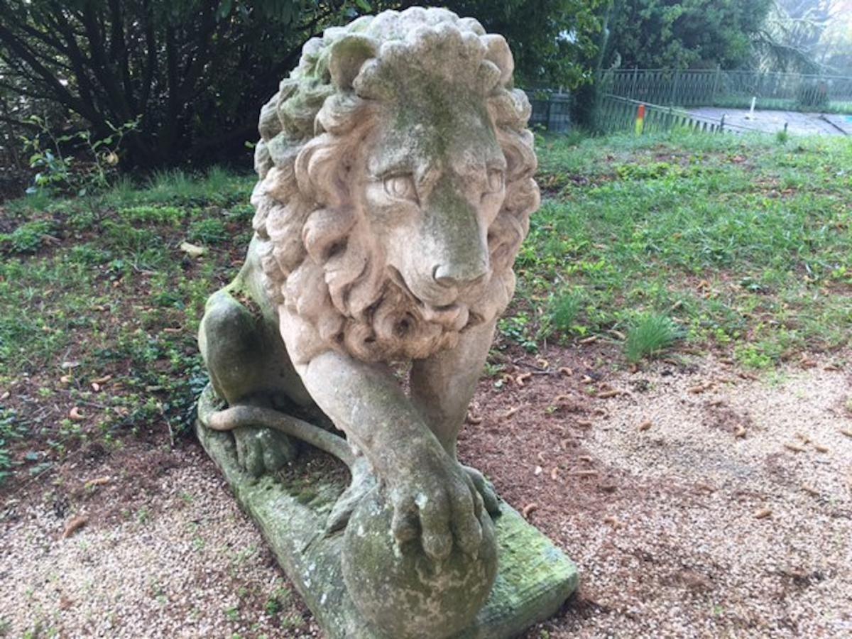 Paire De Lions En Pierre De Vincenza 🔻🔻🔹🔸more At ... tout Lion En Pierre Pour Jardin