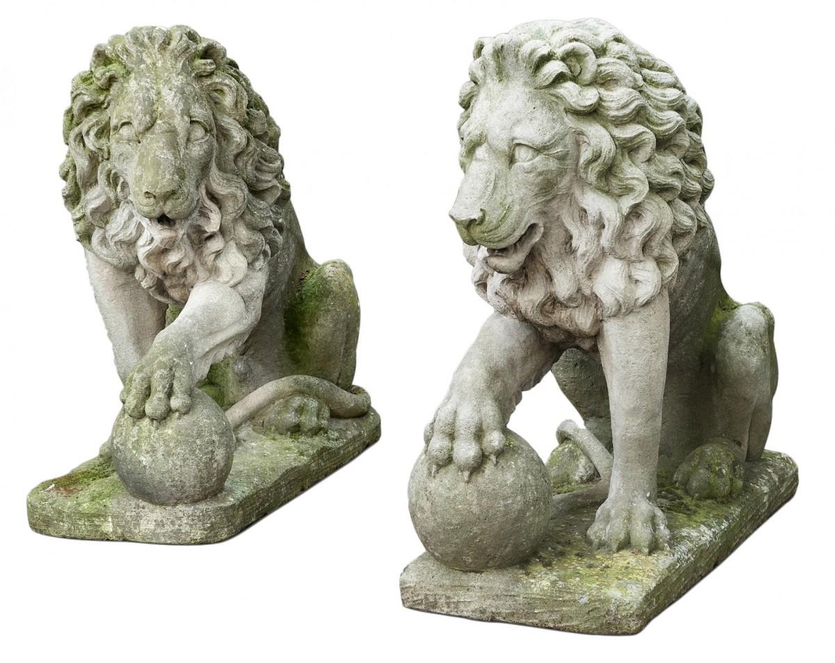 Paire De Lions En Pierre De Vincenza - Xixe Siècle - N.49974 avec Lion En Pierre Pour Jardin