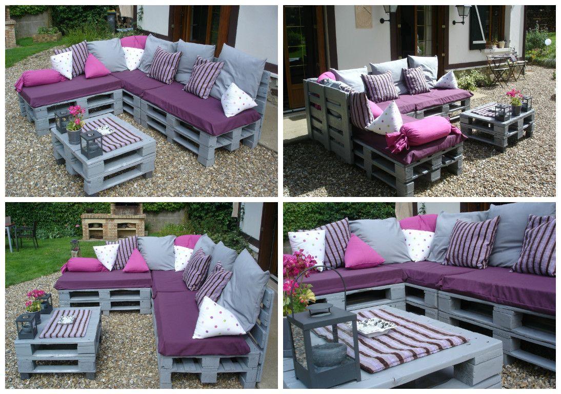 Pallets Garden Lounge / Salon De Jardin En Palettes Europe ... dedans Salonde Jardin
