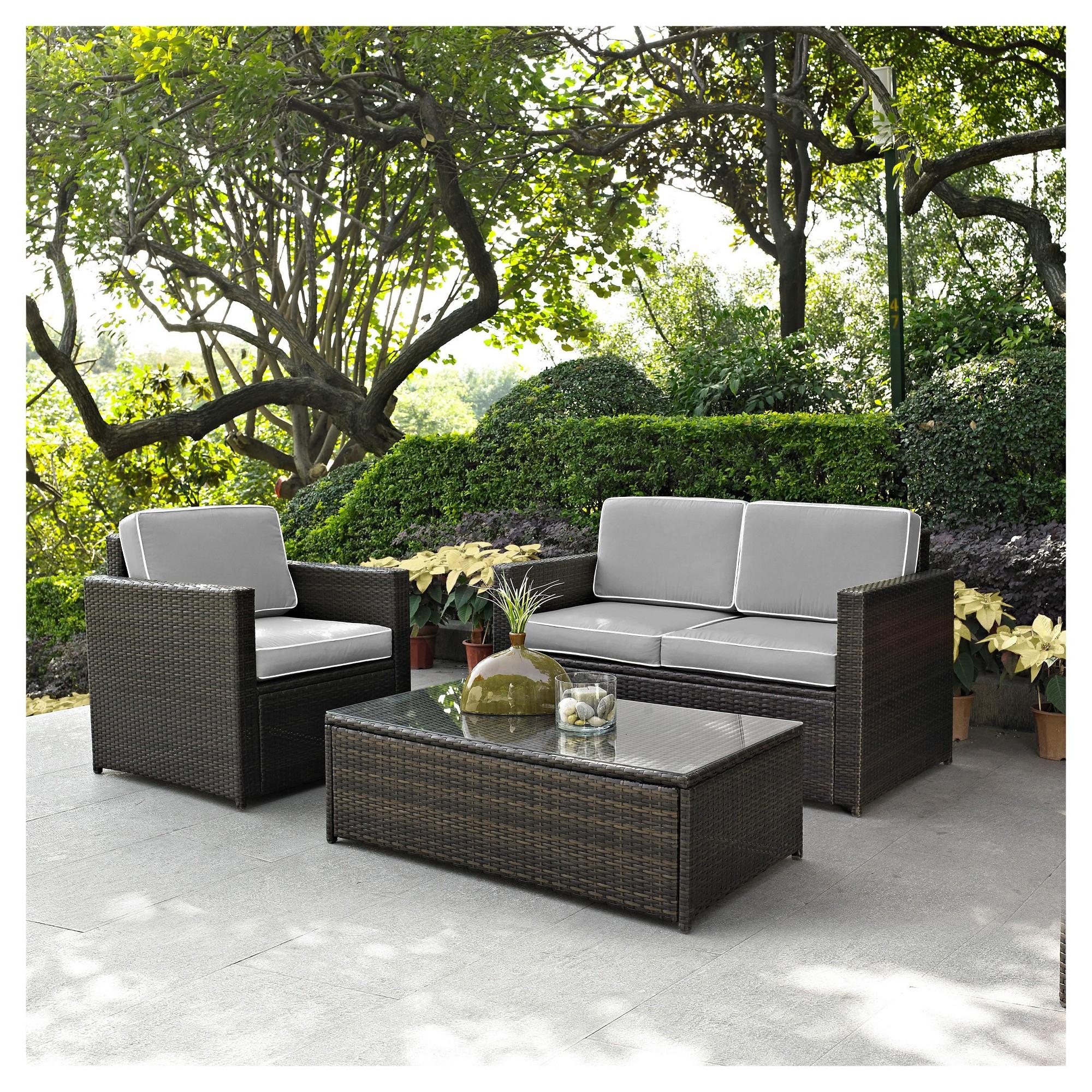 Palm Harbor 3Pc All-Weather Wicker Patio Seating Set - Gray ... serapportantà Salon De Jardin Allibert California