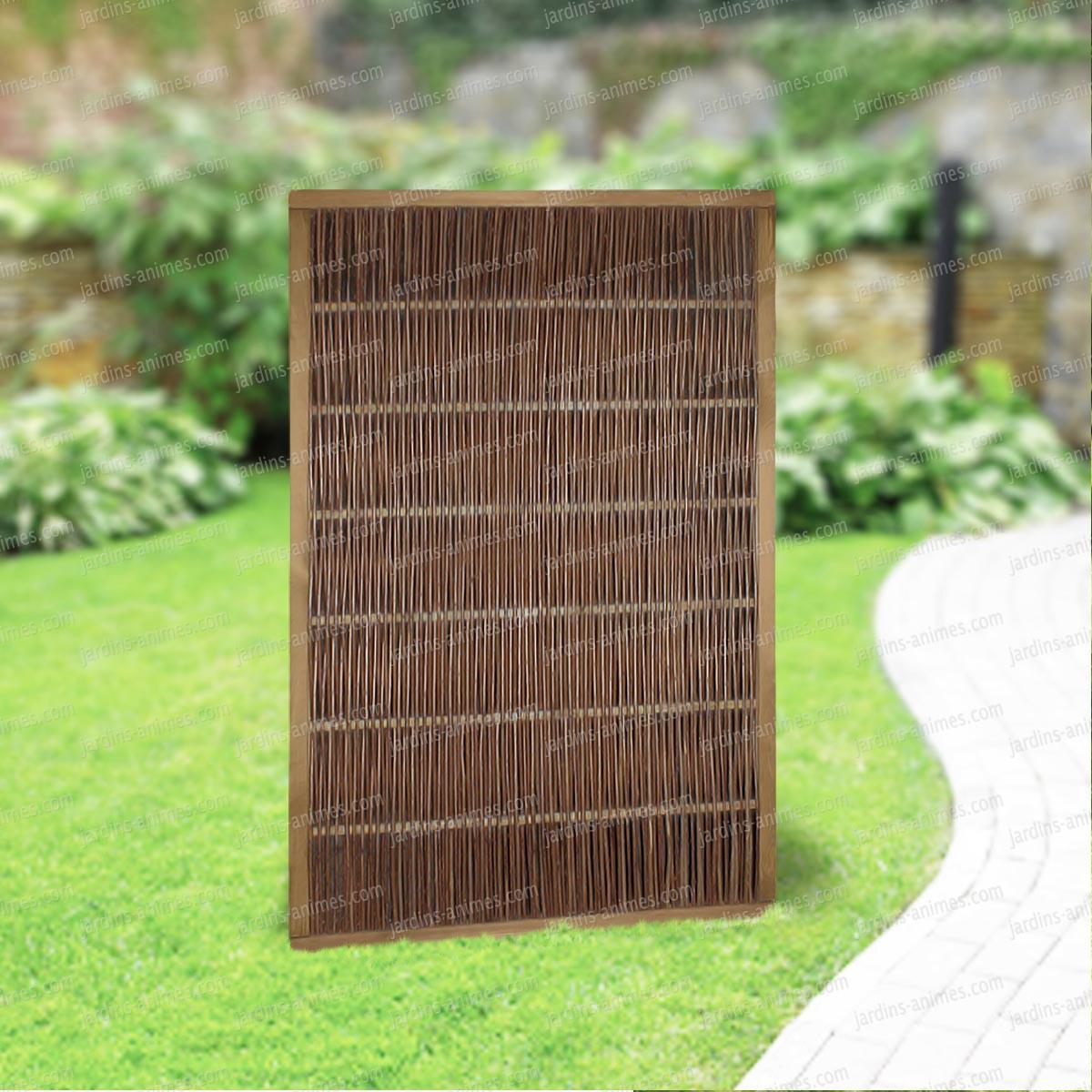 Panneau Cadre En Pin Et Osier 120X180Cm Tressage Vertical destiné Panneau En Bois Pour Jardin