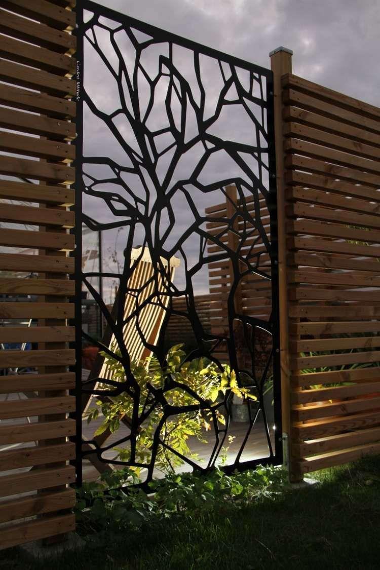 Panneau Occultant Et Clôture Brise-Vue En Métal En 65 Idées ... serapportantà Panneaux Occultants Pour Jardin