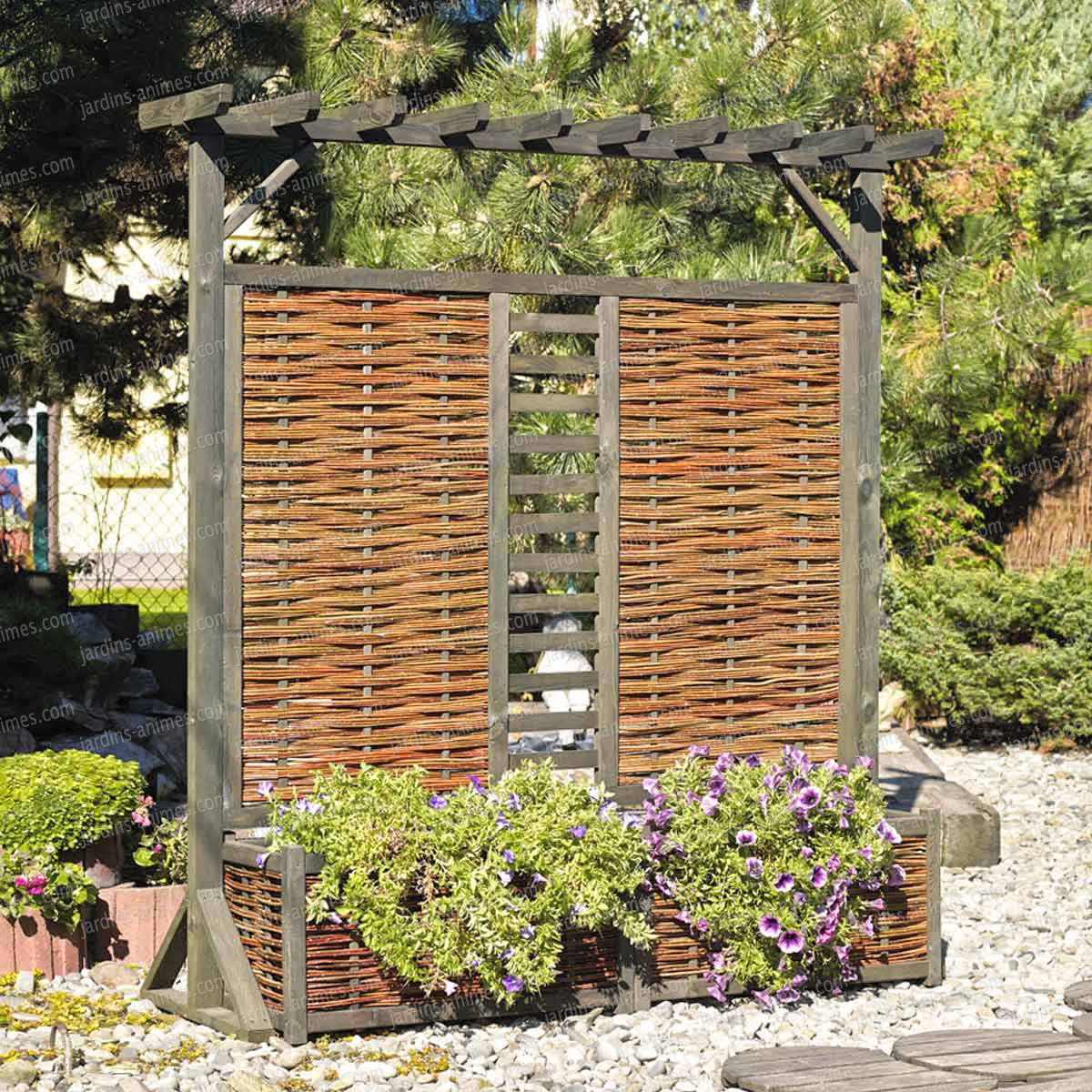 Panneau Pergola Double Jardinière En Osier Et Pin Fsc serapportantà Arche Jardin Jardiland