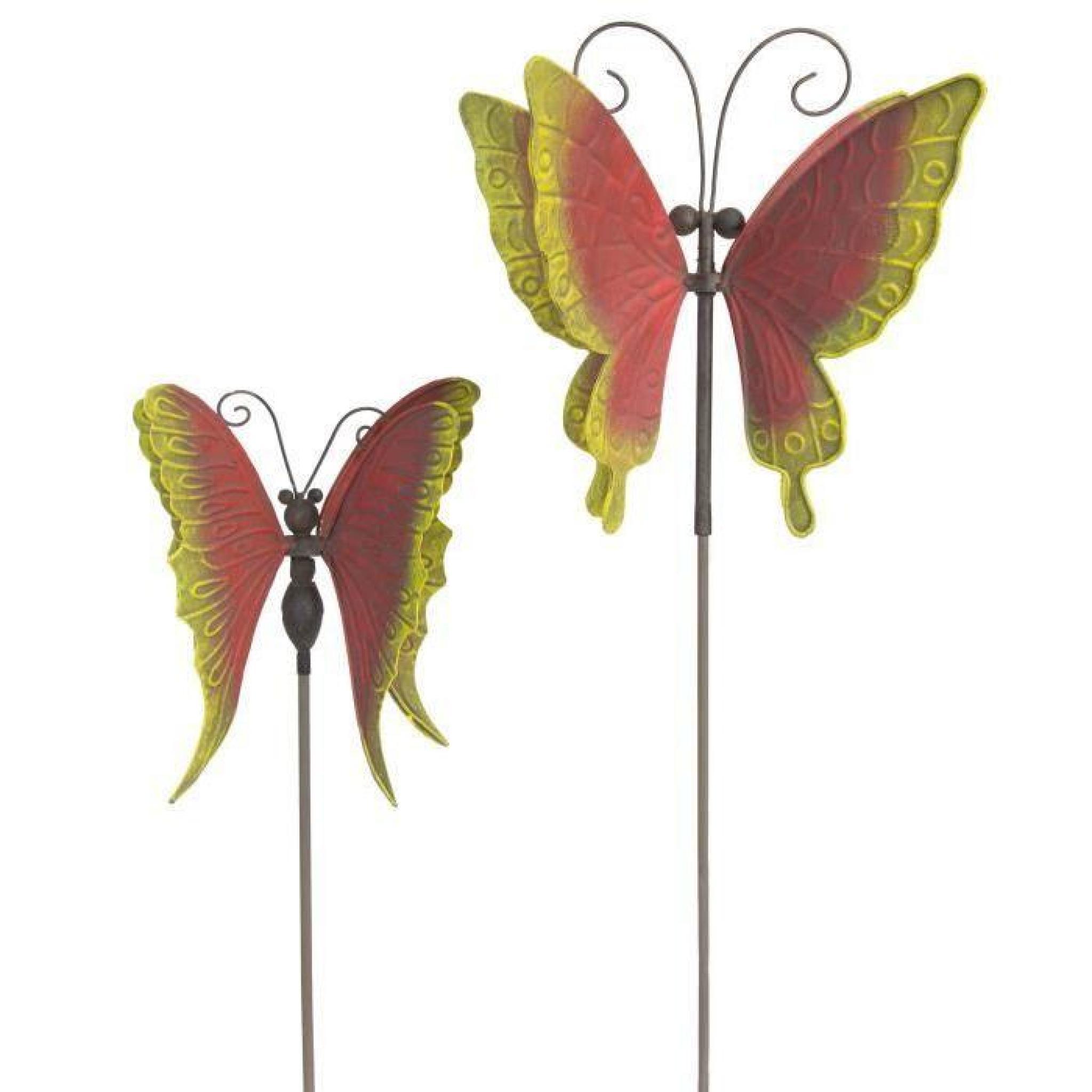 Papillon Décoration De Jardin Tournante En Métal Rouge Et Jaune Moulin À  Vent X 2 (Deux Tailles Différentes) intérieur Moulin A Vent Jardin