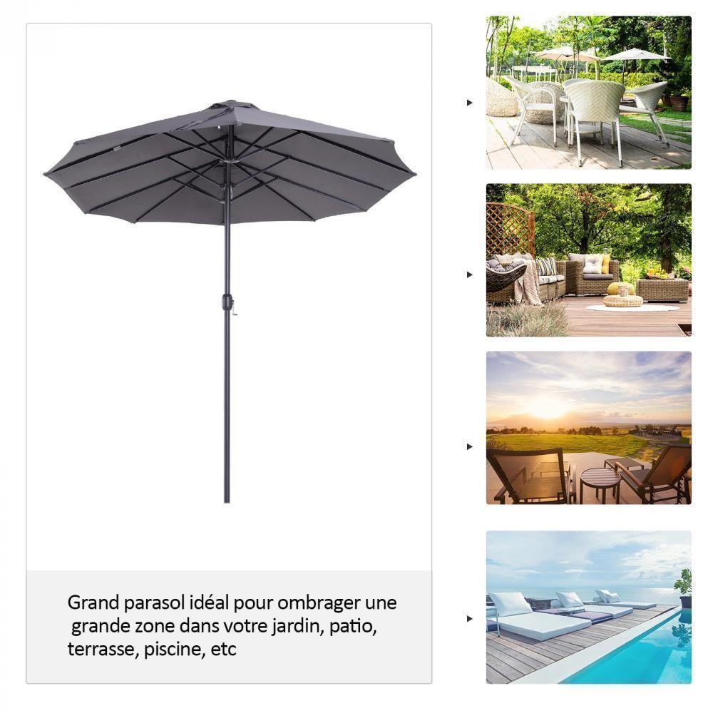 Parasol De Jardin Xxl Parasol Grande Taille 4,6L X 2,7L X 2,4H Cm Ouverture  Fermeture Manivelle Acier Polyester Haute Densité Gris encequiconcerne Alarme Jardin Infrarouge
