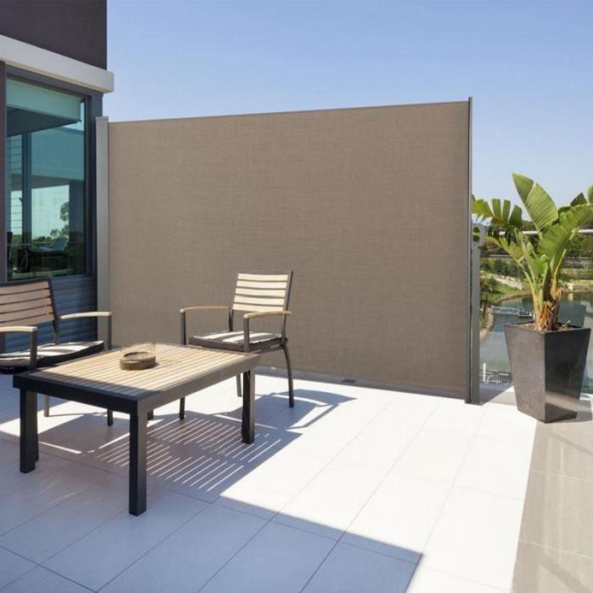 Paravent Rétractable 300 X 160 Cm Store Taupe Latéral Enroulable intérieur Paravent De Jardin
