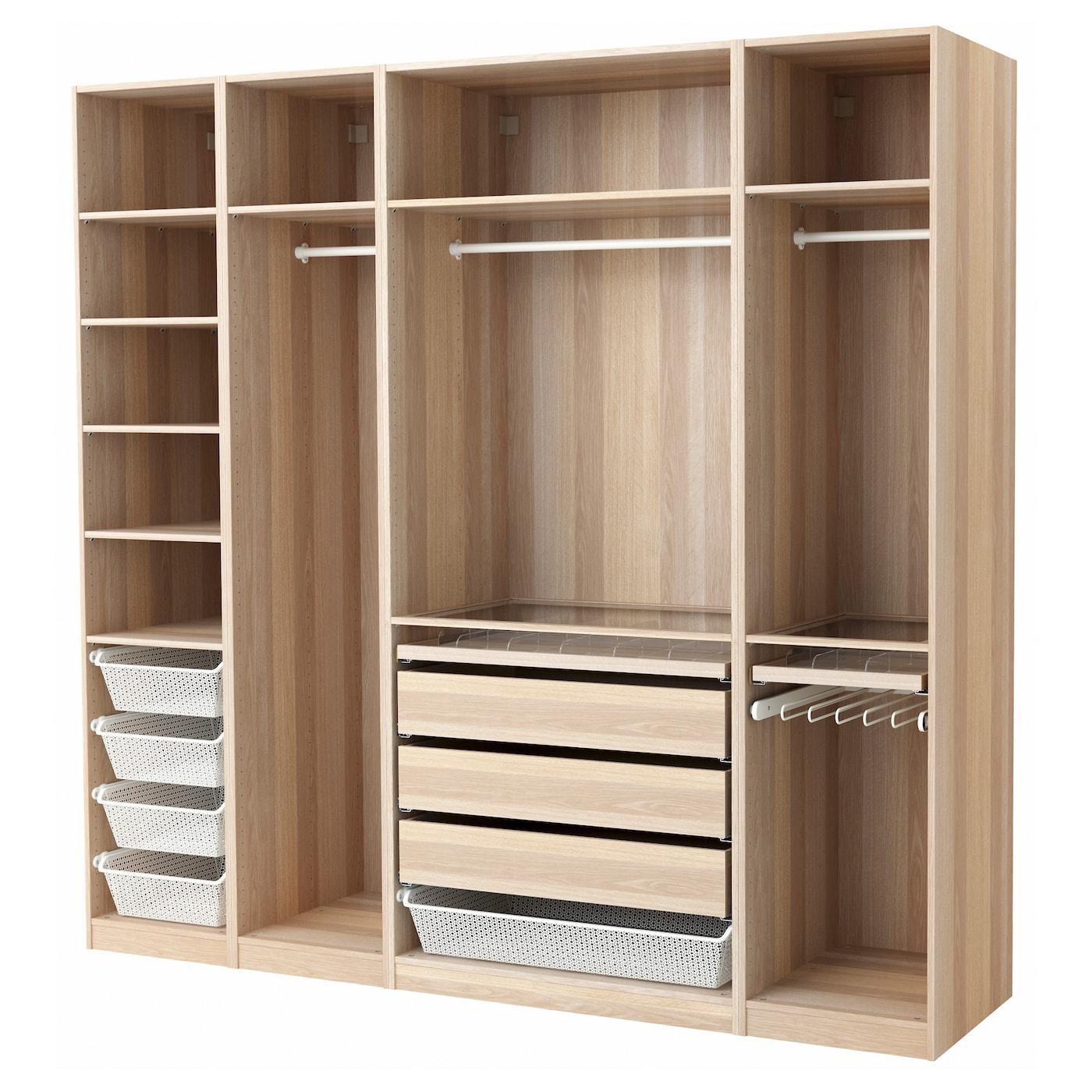 Pax Armoire-Penderie - Effet Chêne Blanchi 250X58X236 Cm intérieur Armoire De Jardin Ikea