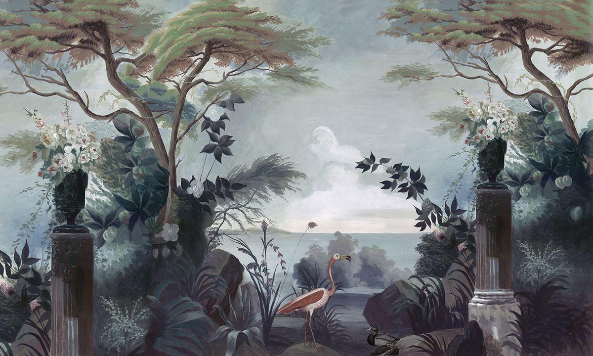 Paysages Colorés - Le Jardin Au Flamant Rose Couleur ... avec Flamant Rose Jardin