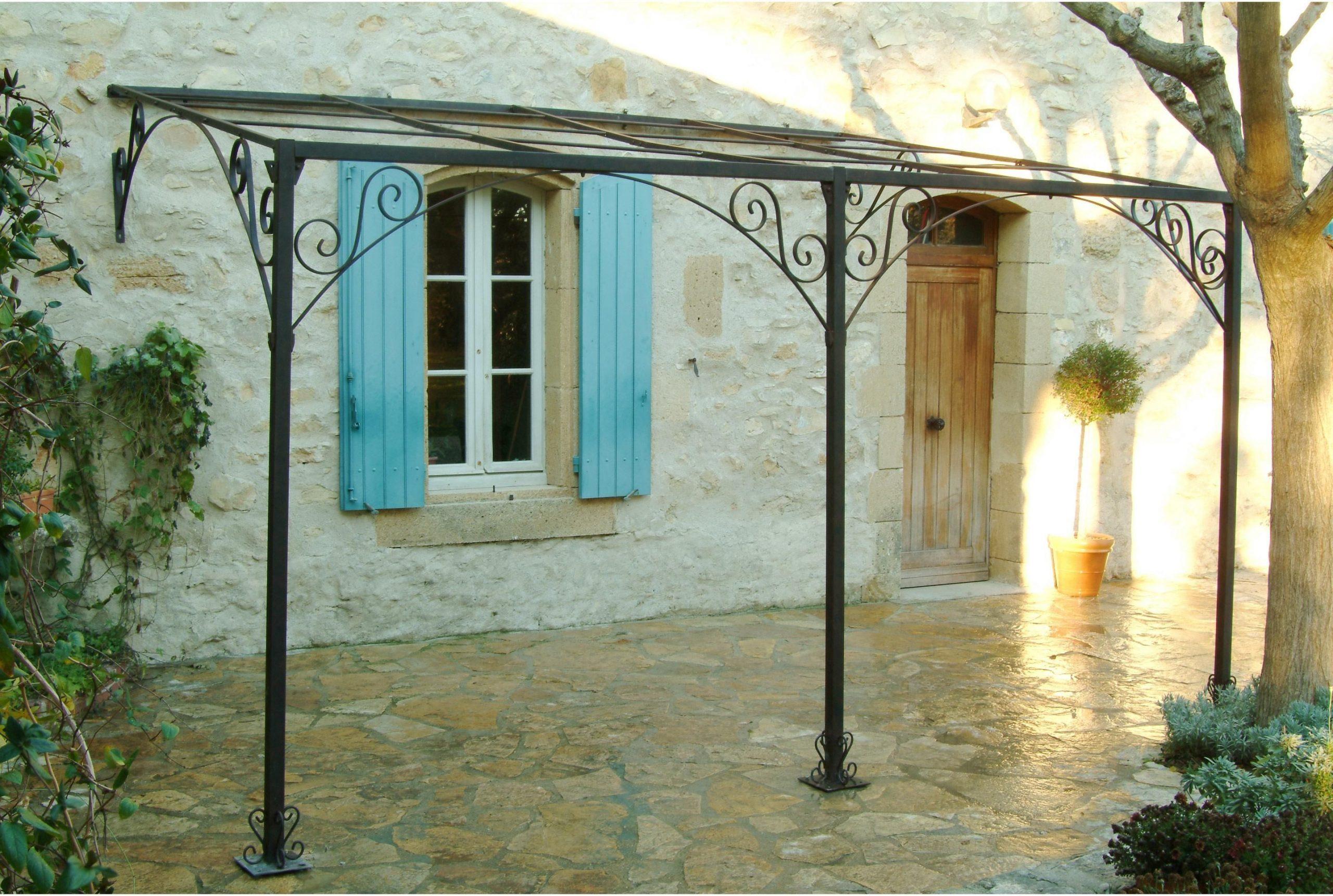 Pergola Adossée Andalouse, Fer Forgé Rouille, 12 M² Mrj ... concernant Salon De Jardin Fer Forgé Leroy Merlin