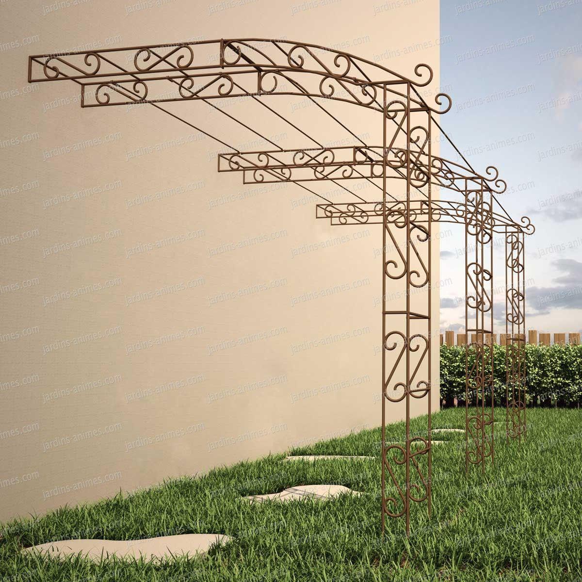 Pergola Adossée En Fer | Arche Jardin, Amenagement Jardin Et ... serapportantà Arche En Fer Forgé Pour Jardin
