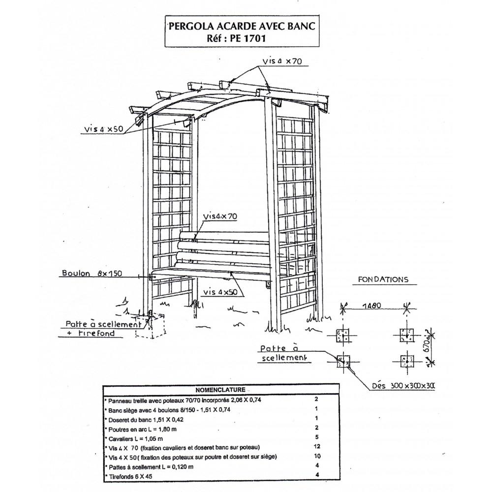 Pergola De Jardin Arcade Avec Banc. Arche Jardin Bois ... serapportantà Arche Bois Jardin