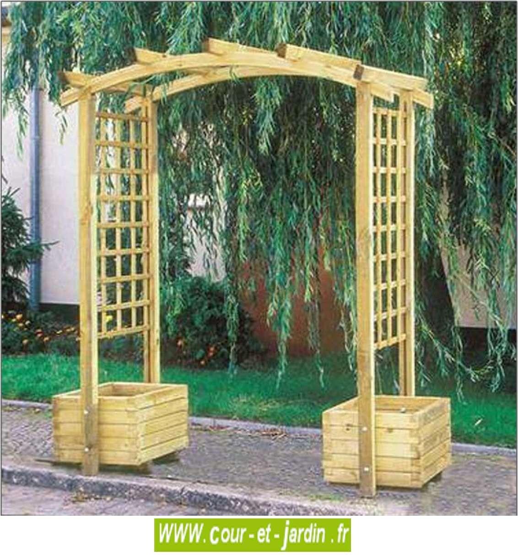 Pergola De Jardin Arcade + Jardinières. Arche De Jardin En ... pour Arche Bois Jardin