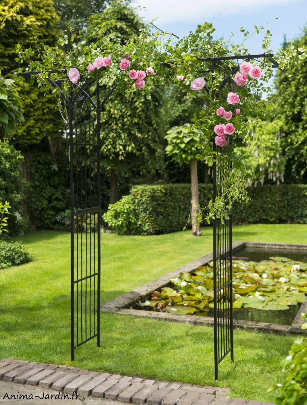 Pergola Double Droite, Acier, Décoration Du Jardin, Allée ... intérieur Allée De Jardin Pas Cher