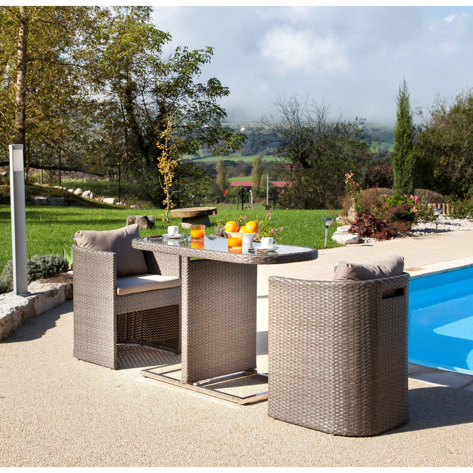 Petite Table Pour Balcon Avec Fauteuils Arrondis Gris - Bari ... dedans Salon De Jardin Pour Balcon