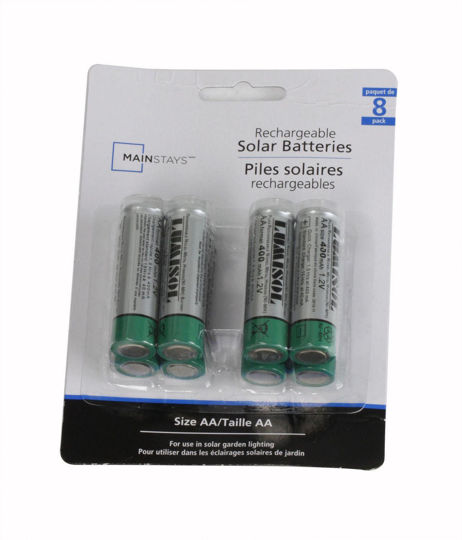 Piles Solaires Rechargeables Ni-Mh Aa De Mainstays avec Pile Pour Lampe Solaire De Jardin