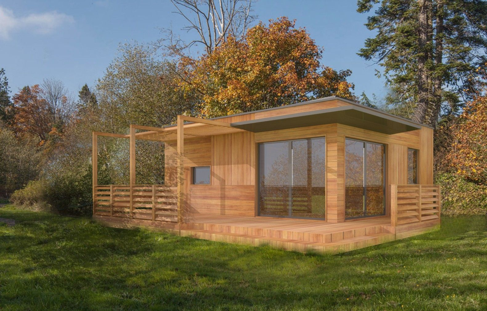 Plan Studio 35M2 Clé En Main | Chalet En Bois Habitable ... dedans Studio De Jardin Habitable