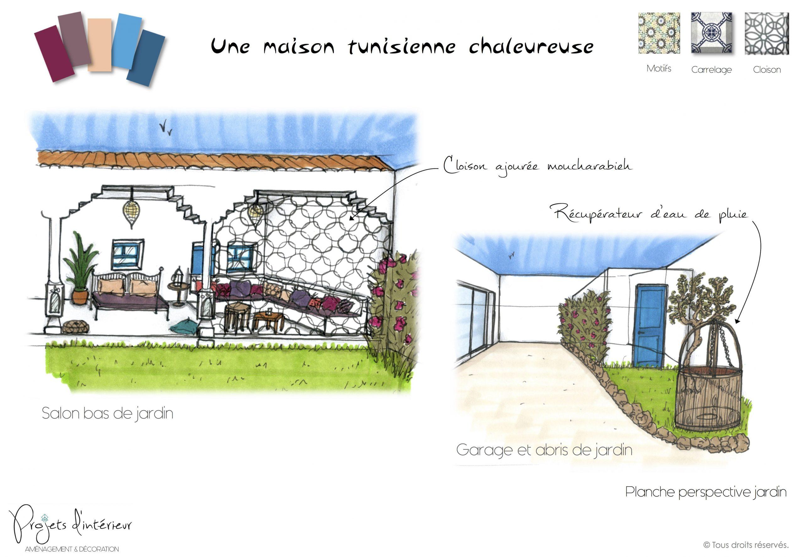 Planche Perspective Jardin, Une Maison Tunisienne ... à Cloison Jardin