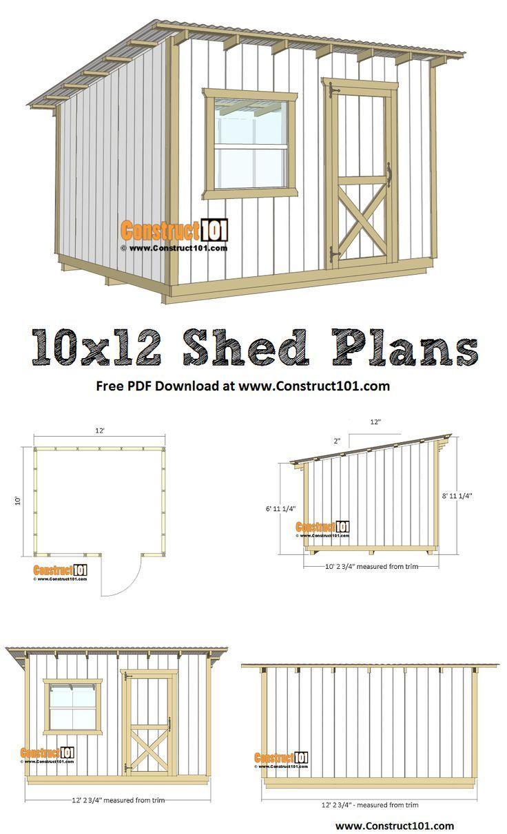 Plans Lean To Shed 10×12 – Téléchargement Pdf   Plan Abris ... tout Plan Cabane De Jardin
