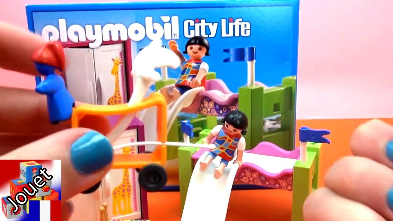 Playmobil 5579 - Chambre À Coucher D'Enfant Avec Un Lit En Hauteur Et Un  Toboggan Playmobil Demo à Jardin D Enfant Playmobil
