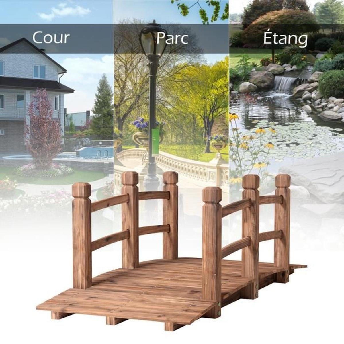 Pont De Jardin En Bois 150 X 67 X 55Cm Pont D'etang Pont De ... tout Pont En Bois Pour Jardin