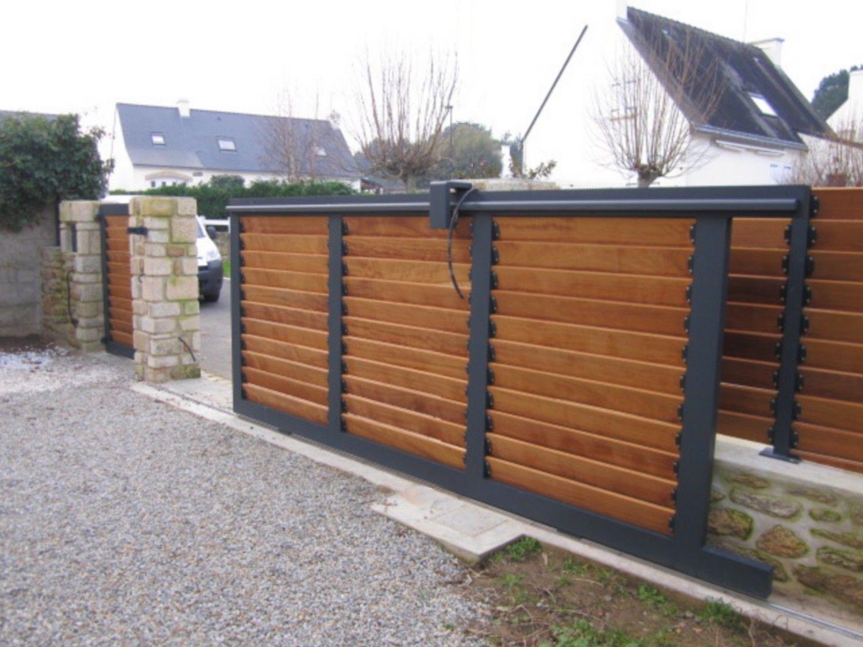 Portail Aluminium Coulissant Remplissage Bois   Portail ... encequiconcerne Porte Bois Exterieur Jardin