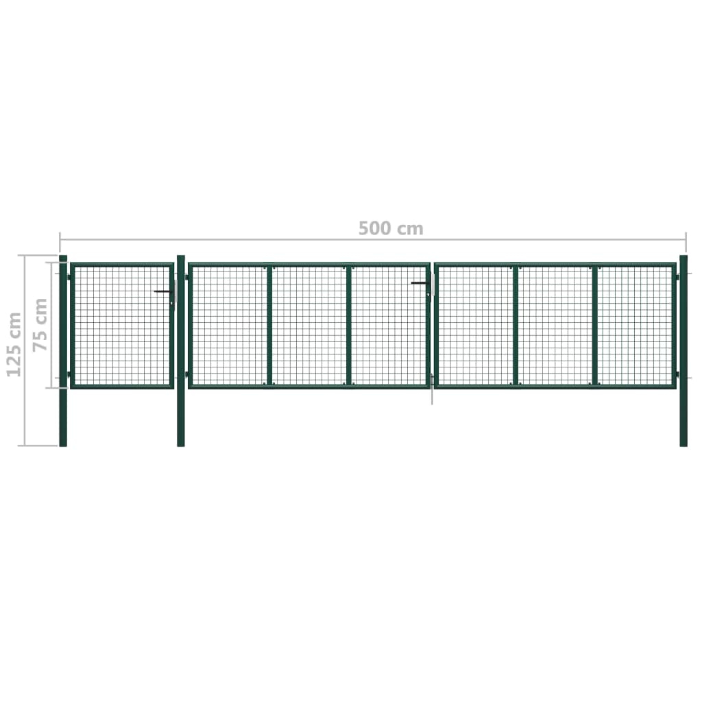 Portail De Jardin Acier 500X75 Cm Vert pour Portillon De Jardin Pas Cher