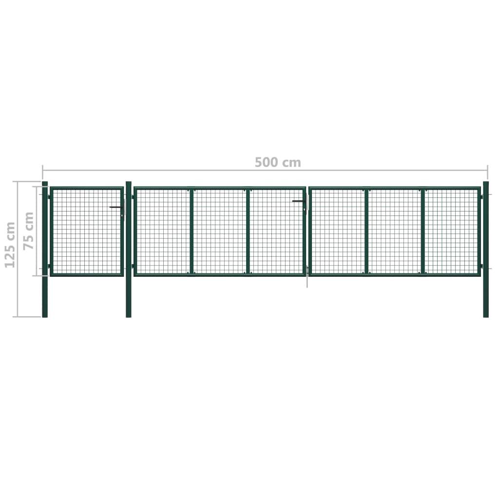 Portail De Jardin Acier 500X75 Cm Vert serapportantà Serrure Pour Portillon De Jardin