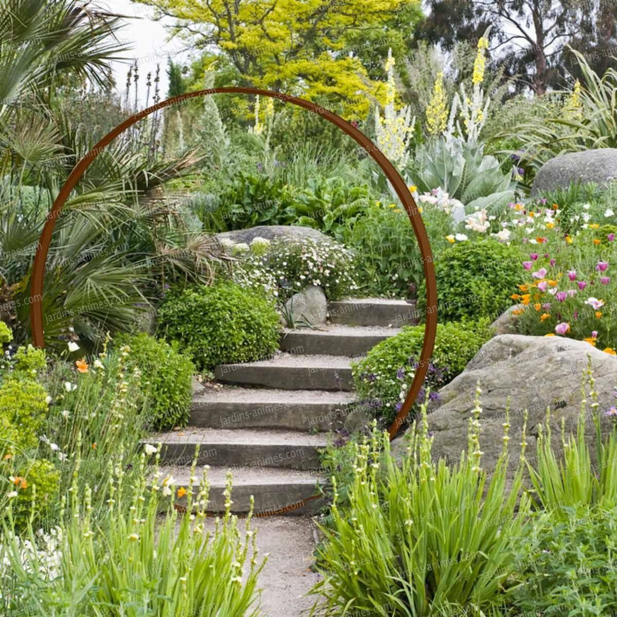 Porte De Lune En Acier Rouillé Diam. 1.9M   Garden Entrance ... dedans Jardins Animés Sculpture