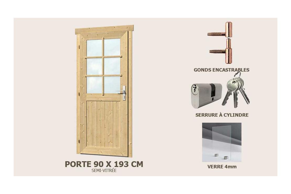 Porte De Service Supplémre Semi-Vitrée 90X193Cm Abri 28Mm pour Porte Pour Abri De Jardin