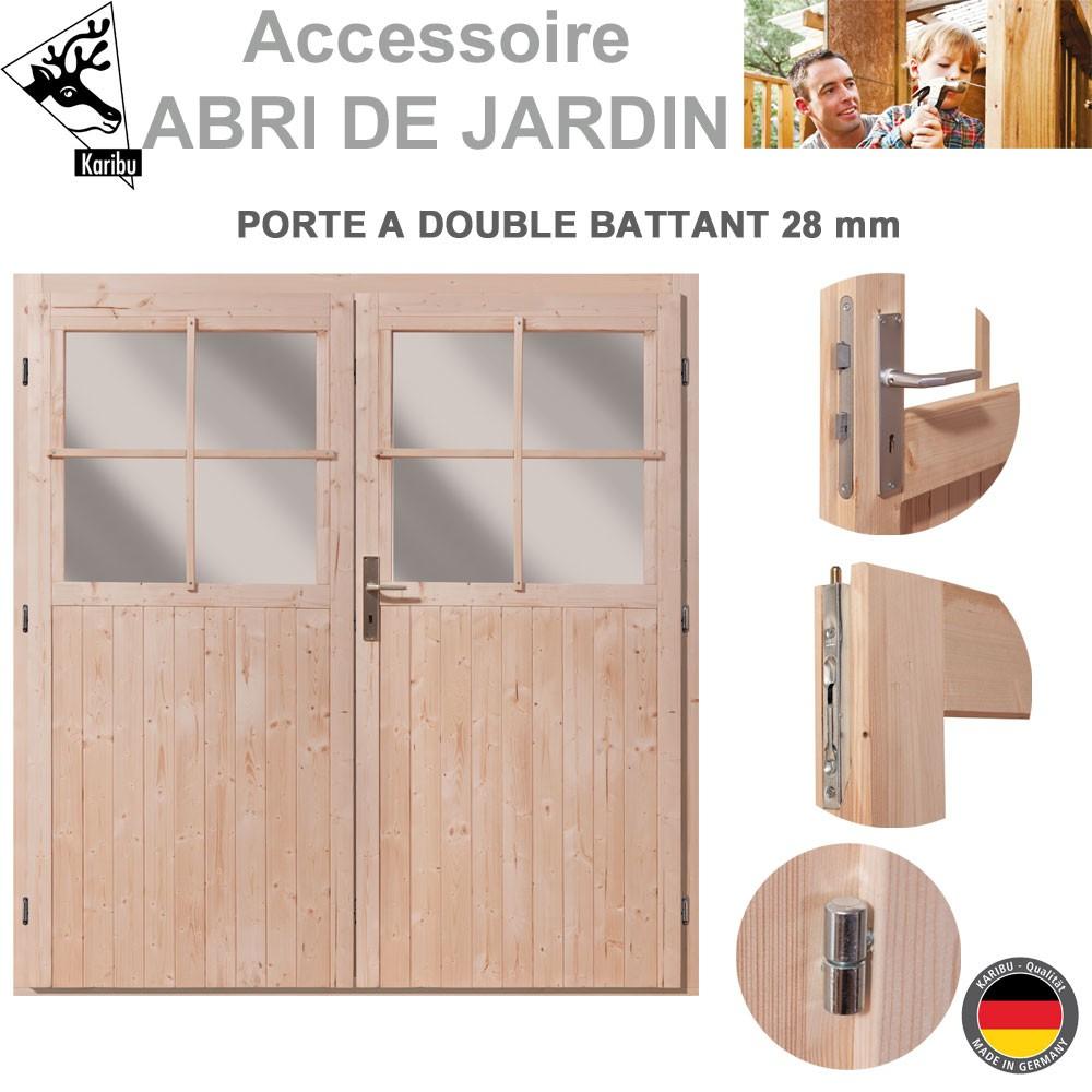Porte Double 28 Mm Pour Abri De Jardin Bois encequiconcerne Porte Abris De Jardin En Bois