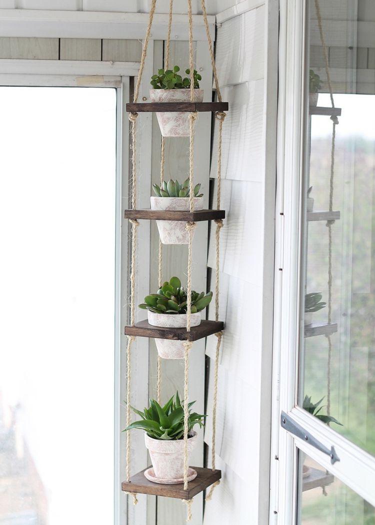 Porte-Plantes À Faire Soi-Même-Sellettes Et Suspensions Pour ... intérieur Etagere De Jardin Pour Plantes