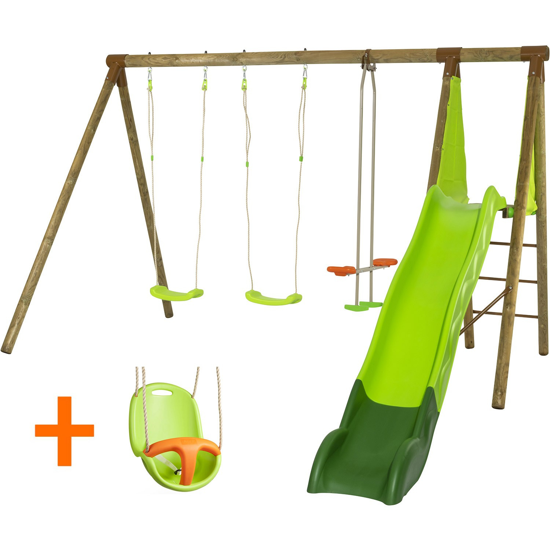Portique En Bois Olvi Trigano 2,30 M. + Toboggan 5 Enfants : Siège Bébé  Inclus destiné Grand Toboggan Jardin