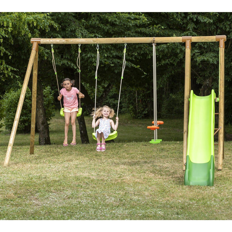 Portique En Bois Olvi Trigano 2,30 M. + Toboggan 5 Enfants : Siège Bébé  Inclus encequiconcerne Grand Toboggan Jardin