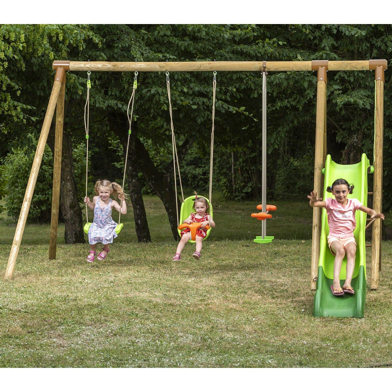 Portique En Bois Olvi Trigano 2,30 M. + Toboggan 5 Enfants : Siège Bébé  Inclus pour Grand Toboggan Jardin