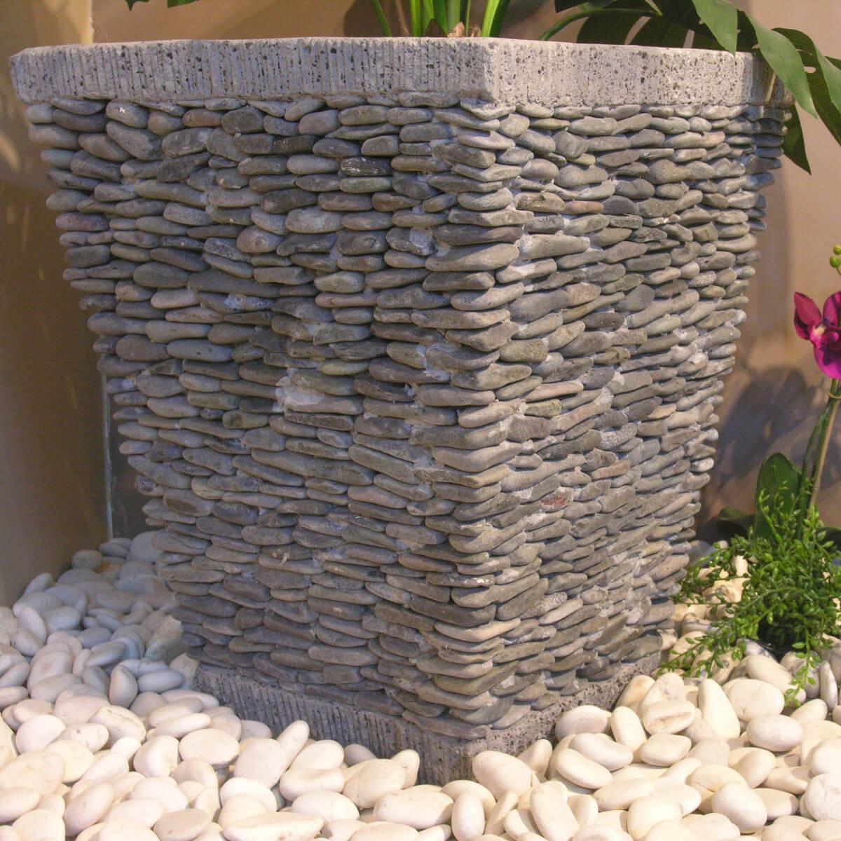 Pot Bac Jardinière Carré Galet 50Cm Jardin Extérieur Zen destiné Pot Deco Jardin Exterieur