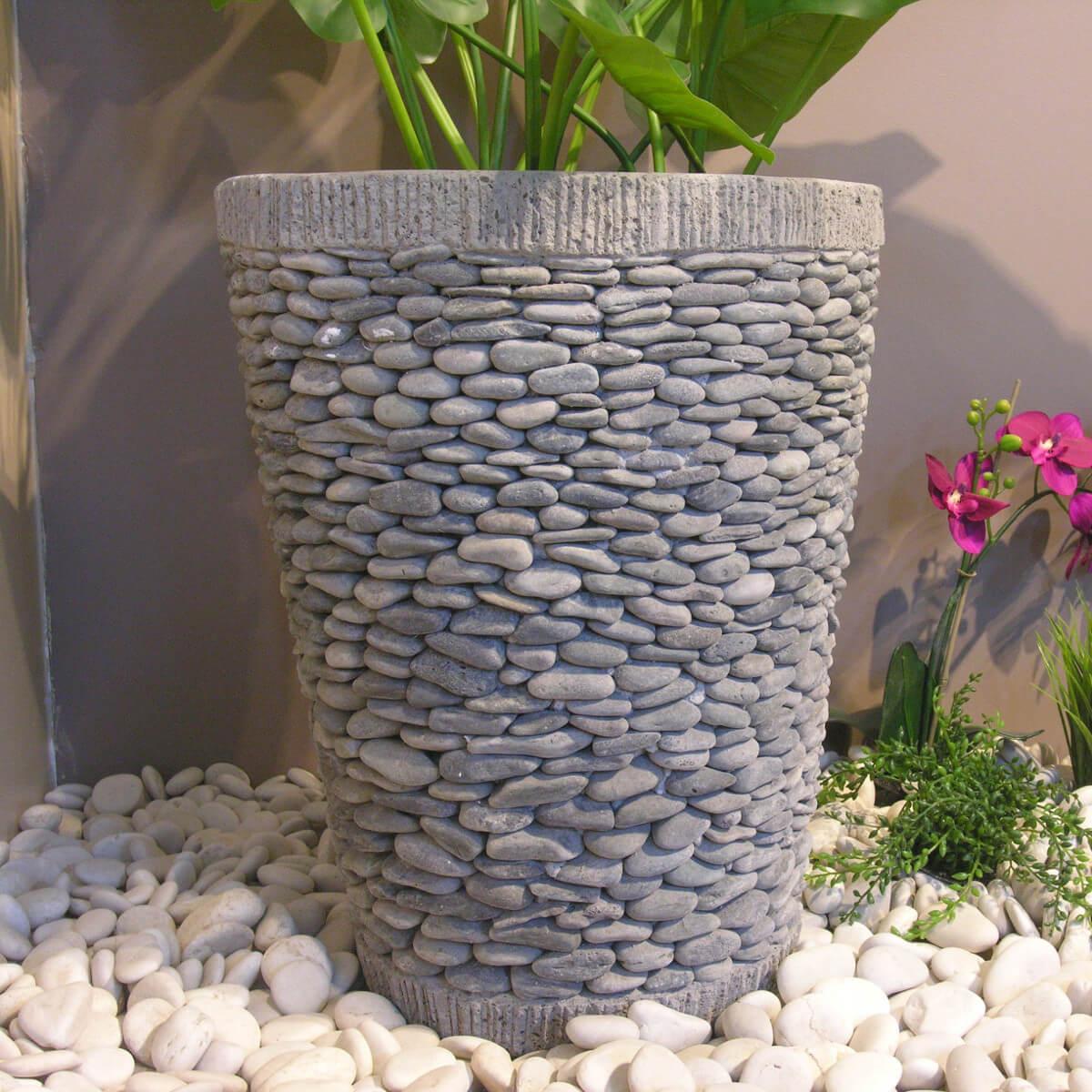 Pot Bac Jardinière Conique Galet 50Cm tout Galet Decoration Jardin