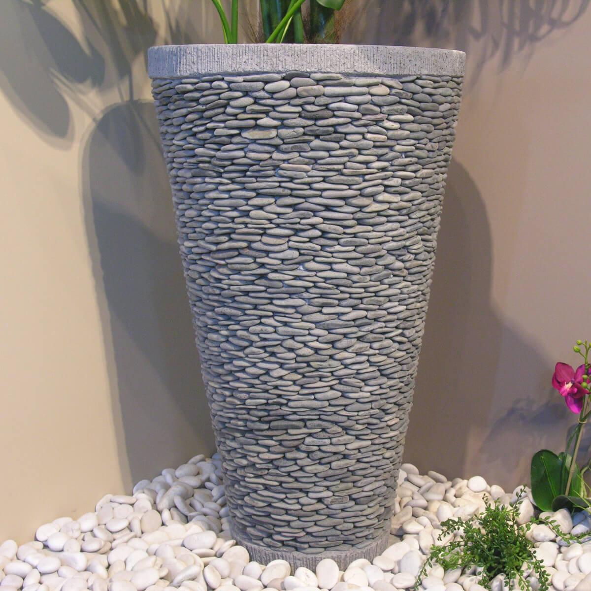 Pot Bac Jardinière Conique Galet 80Cm Jardin Extérieur Zen destiné Pot Deco Jardin Exterieur