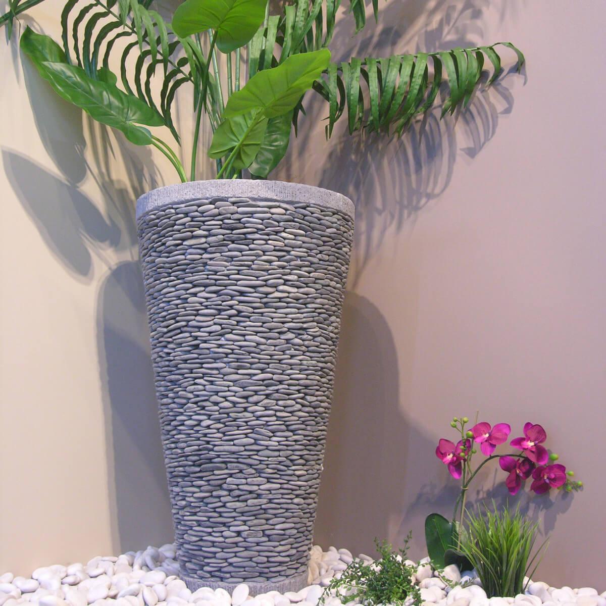 Pot Bac Jardinière Conique Galet 80Cm Jardin Extérieur Zen serapportantà Pot Deco Jardin Exterieur