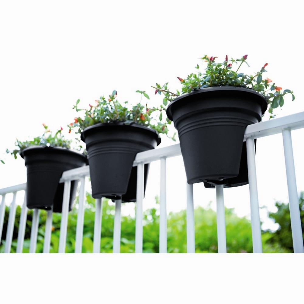Pot De Fleurs Spécial Balcon 30Cm Anthracite avec Pot Deco Jardin Exterieur