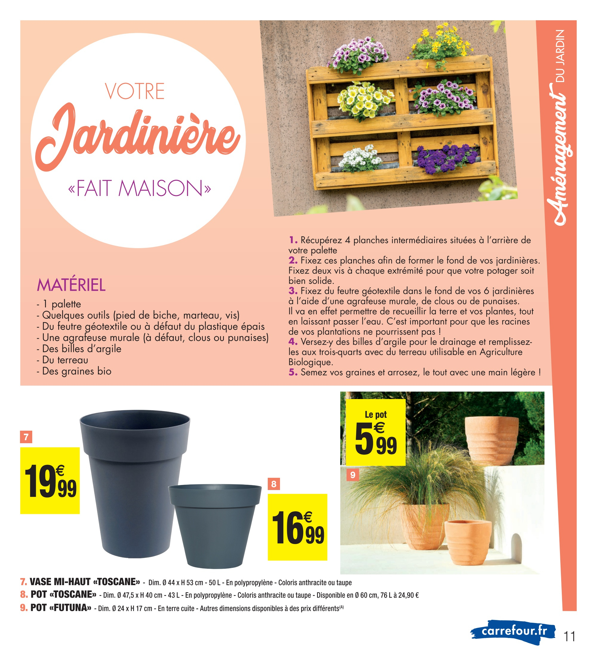 Pot «Toscane» dedans Carrefour Maison De Jardin