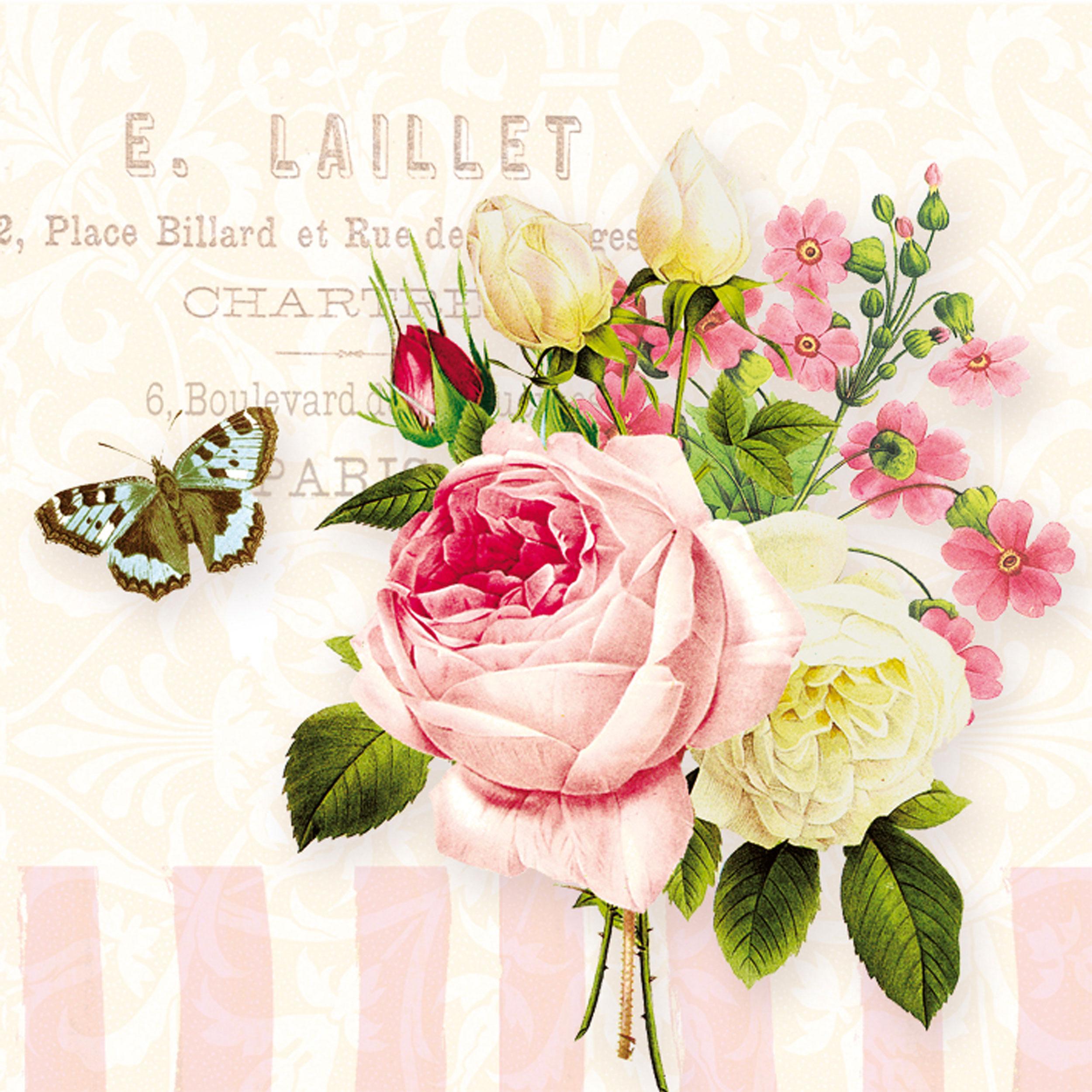 Ppd Jardin Rose Napkins, 20 Pieces, Table Napkins, Tissue, Colorful, 33 X  33 Cm, 6278 At About-Tea.de Shop encequiconcerne Table Jardin Rose