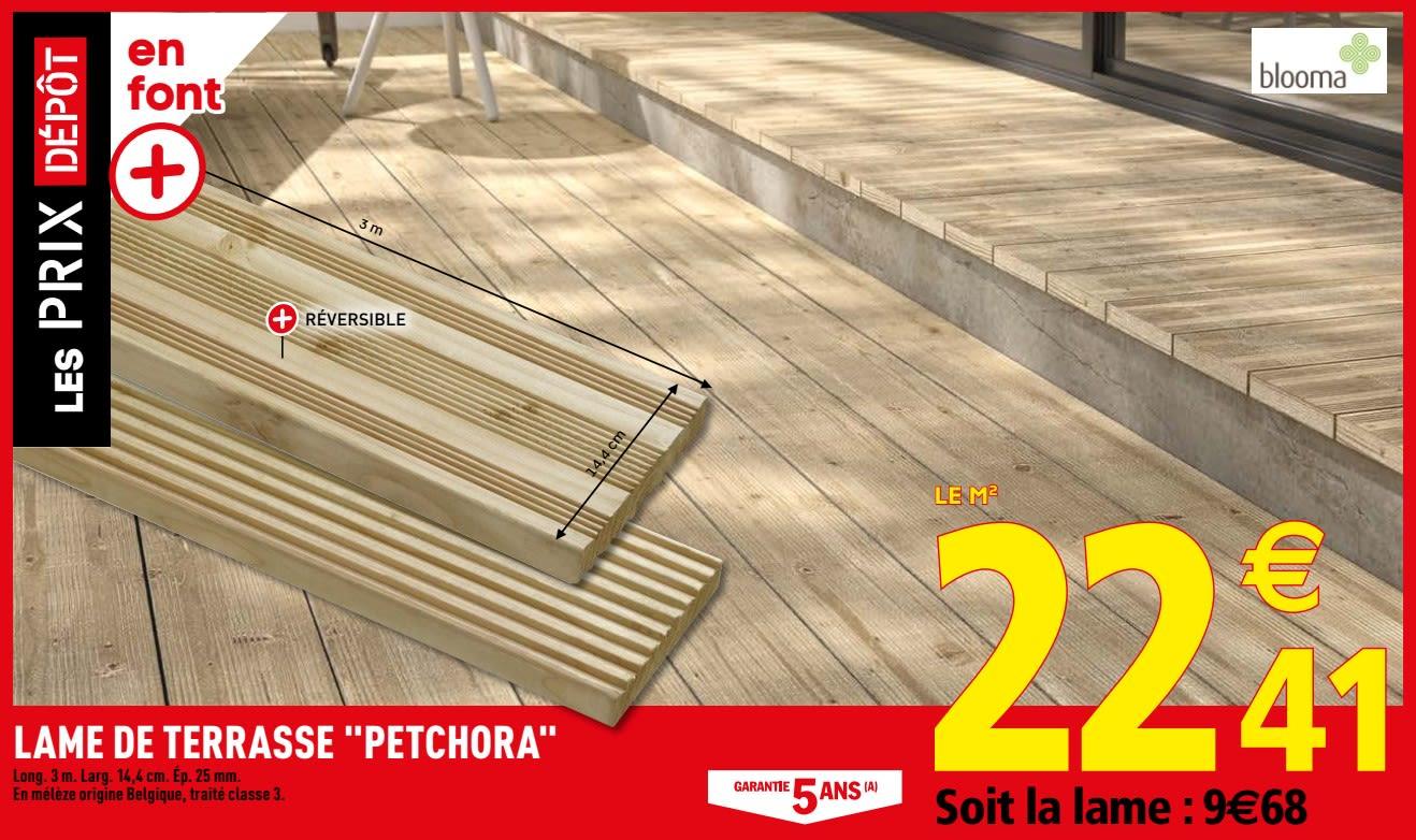 Promotion Brico Depot: Lame De Terrasse Petchora - Blooma ... destiné Coffre Jardin Brico Depot