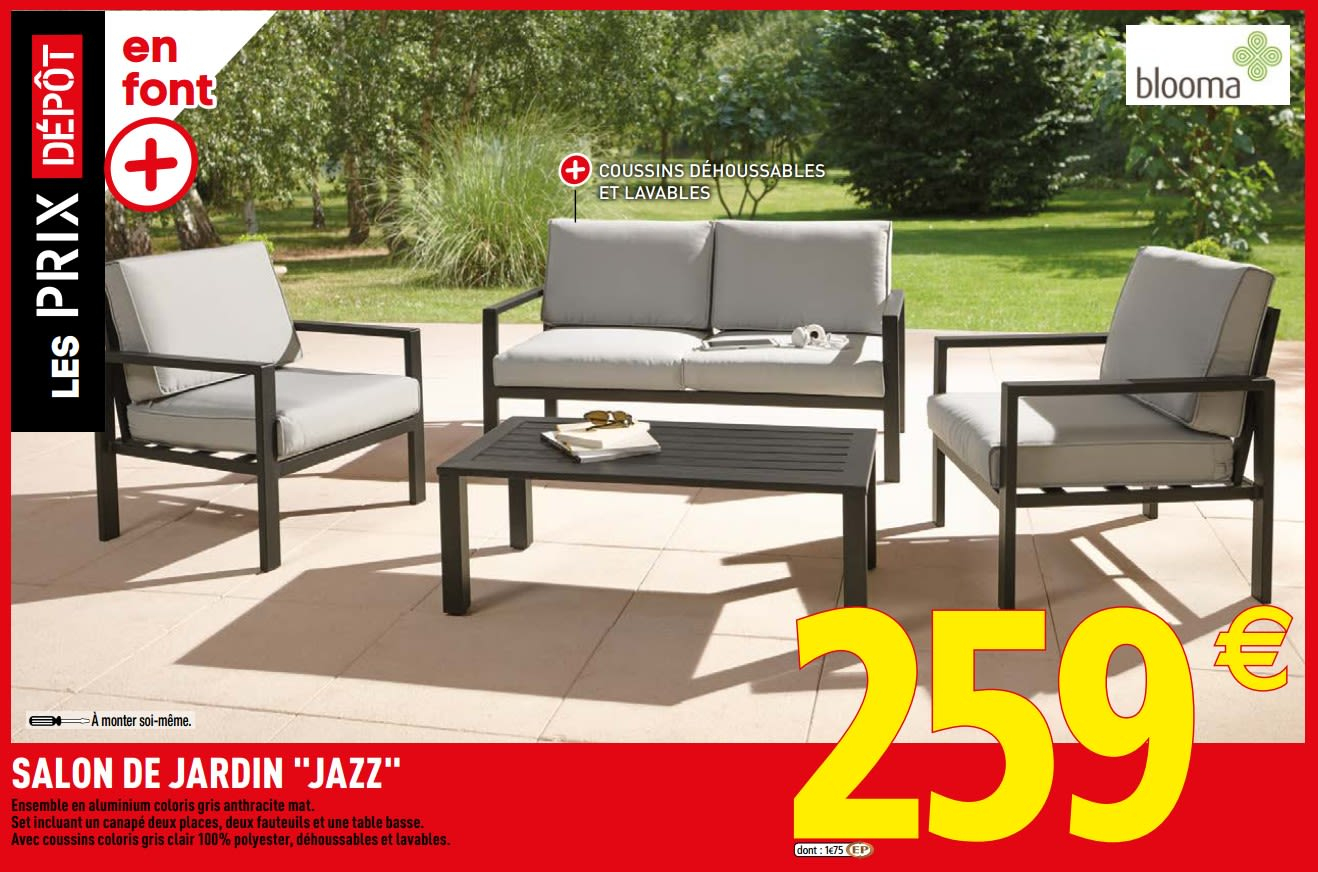 Promotion Brico Depot: Salon De Jardin Jazz - Blooma (Jardin ... destiné Salon De Jardin Brico Depot