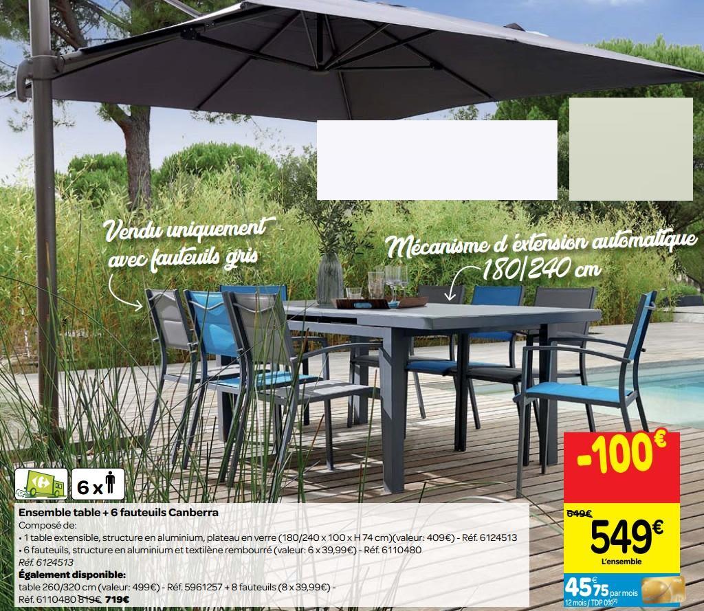 Promotion Carrefour: Ensemble Table + 6 Fauteuils Canberra ... destiné Fauteuil De Jardin Carrefour